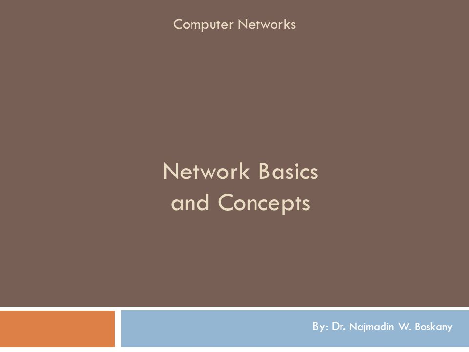Network Basics and Concepts By: Dr. Najmadin W. Boskany Computer Networks