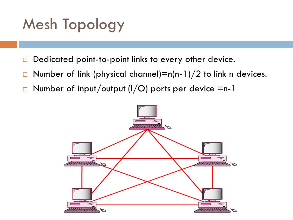Mesh Topology  Dedicated point-to-point links to every other device.  Number of link (physical channel)=n(n-1)/2 to link n devices.  Number of inpu