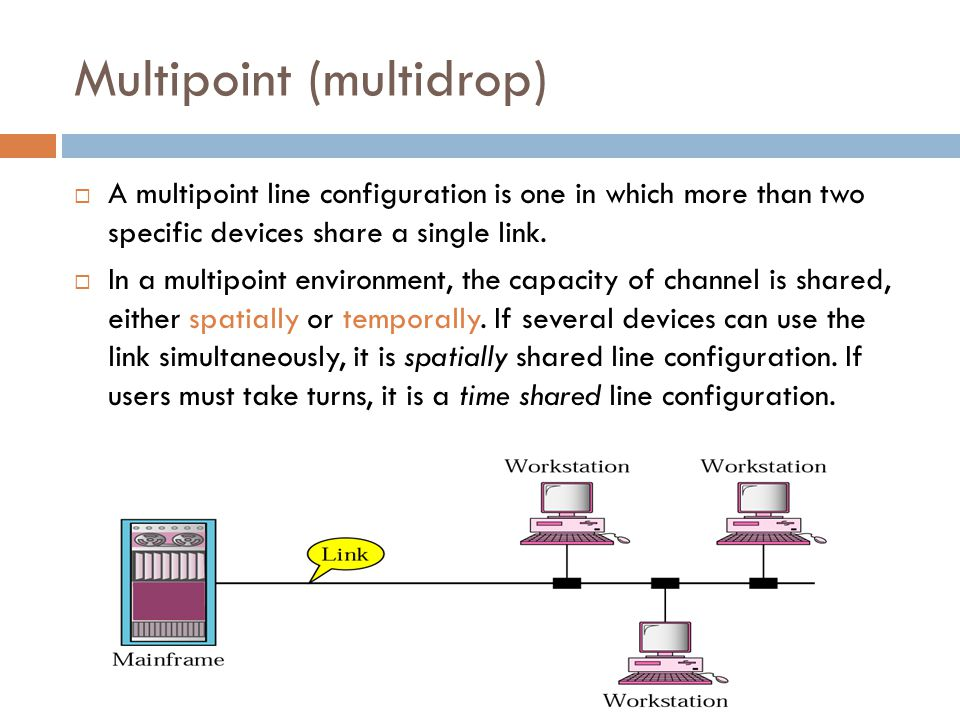 Multipoint (multidrop)  A multipoint line configuration is one in which more than two specific devices share a single link.  In a multipoint environ