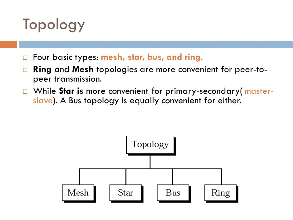 Topology  Four basic types: mesh, star, bus, and ring.  Ring and Mesh topologies are more convenient for peer-to- peer transmission.  While Star is