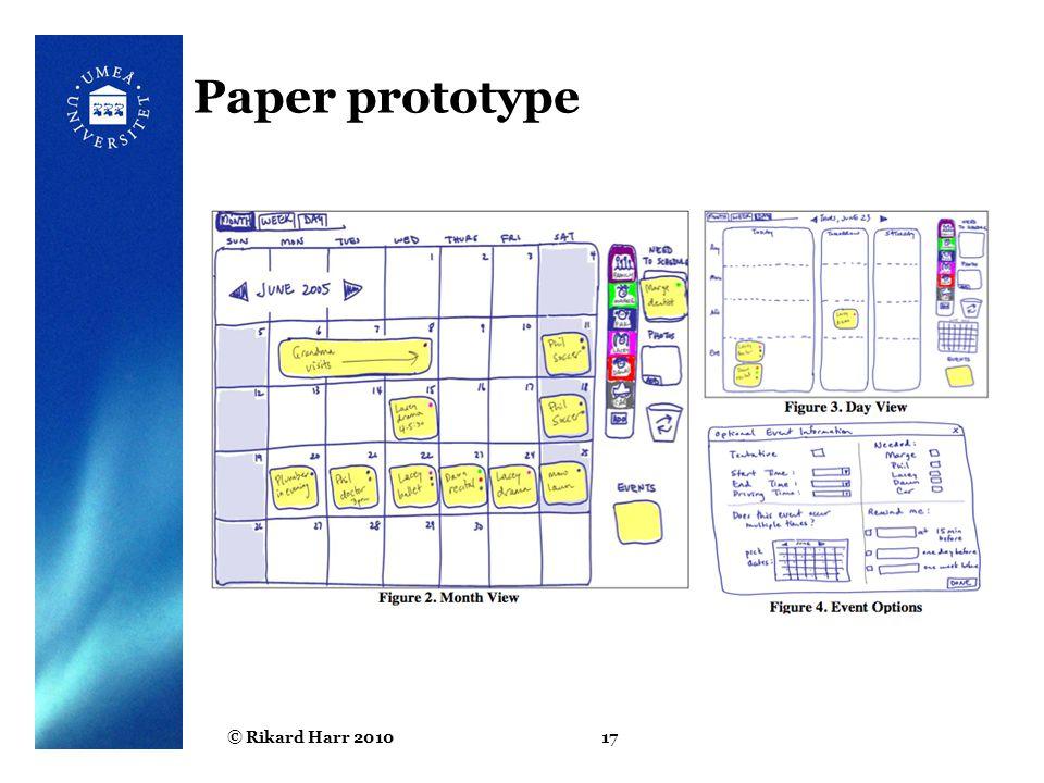 © Rikard Harr 201017 Paper prototype