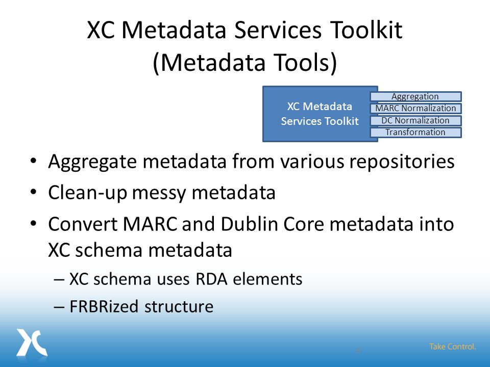 XC Metadata Services Toolkit (Metadata Tools) Aggregate metadata from various repositories Clean-up messy metadata Convert MARC and Dublin Core metada