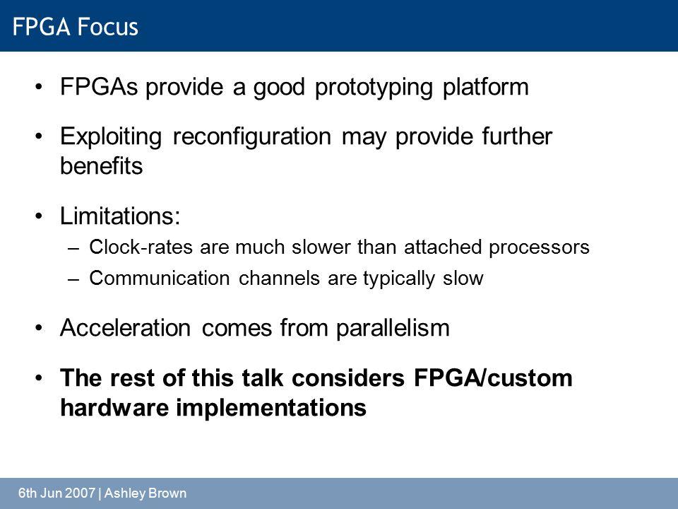 6th Jun 2007 | Ashley Brown FPGA Focus FPGAs provide a good prototyping platform Exploiting reconfiguration may provide further benefits Limitations: