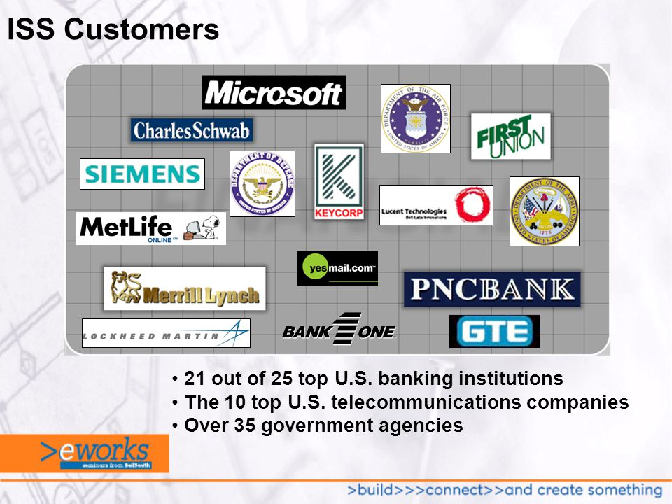 ISS Customers 21 out of 25 top U.S. banking institutions The 10 top U.S.