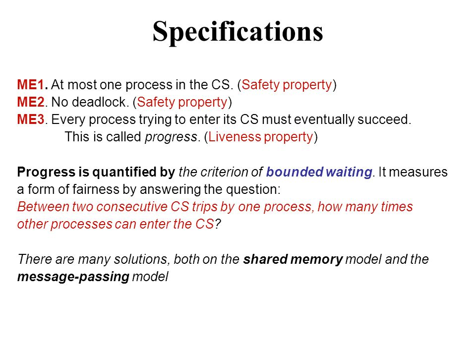 Specifications ME1. At most one process in the CS.