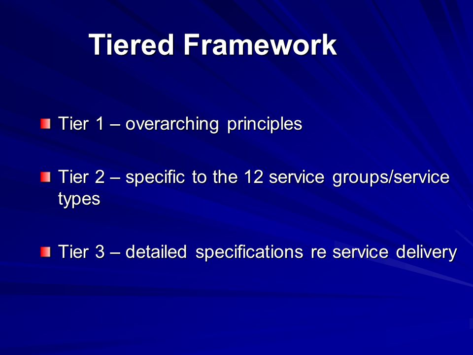 Tiered Framework Tier 1 – overarching principles Tier 2 – specific to the 12 service groups/service types Tier 3 – detailed specifications re service delivery