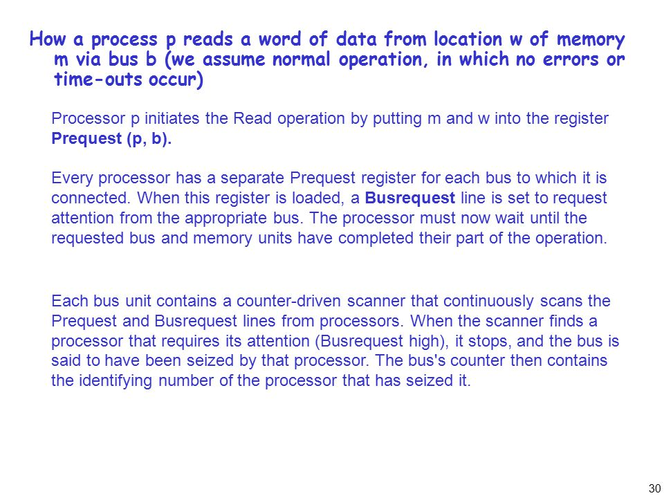 30 How a process p reads a word of data from location w of memory m via bus b (we assume normal operation, in which no errors or time-outs occur) Proc