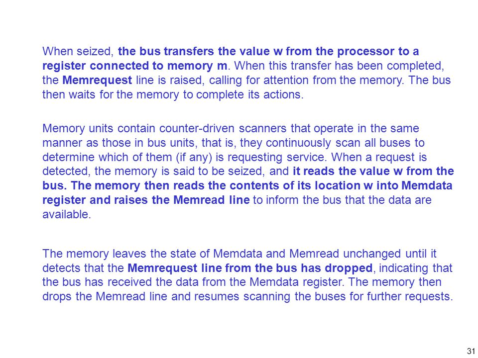 31 When seized, the bus transfers the value w from the processor to a register connected to memory m.