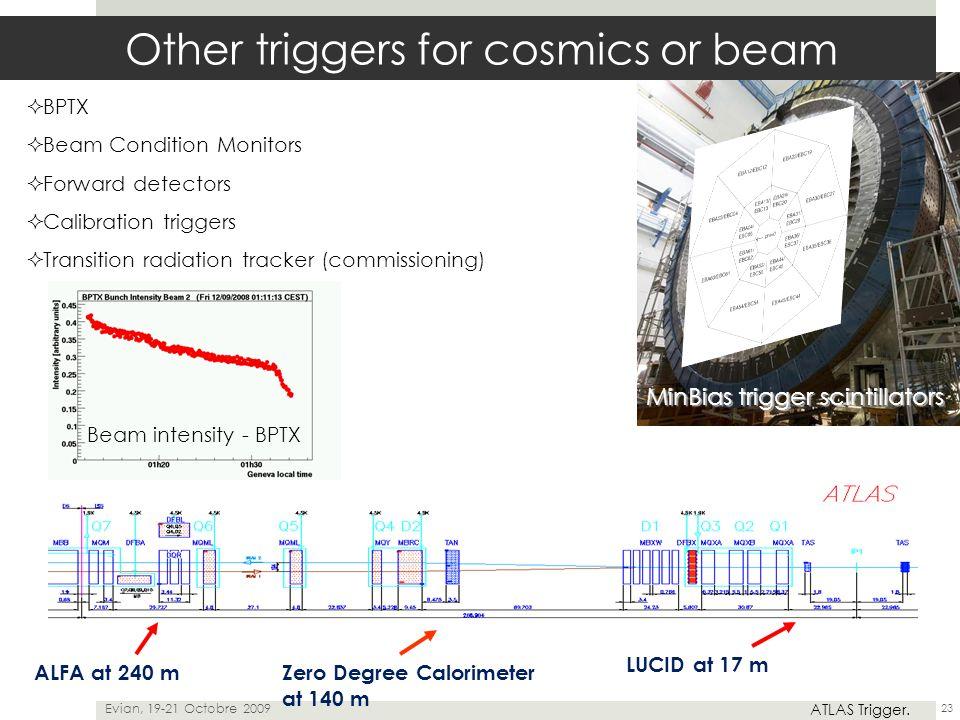  BPTX  Beam Condition Monitors  Forward detectors  Calibration triggers  Transition radiation tracker (commissioning) Evian, 19-21 Octobre 2009 A