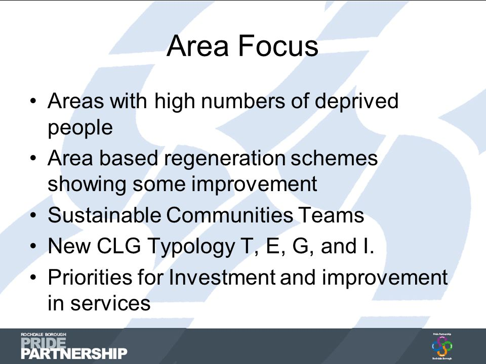 Area Focus Areas with high numbers of deprived people Area based regeneration schemes showing some improvement Sustainable Communities Teams New CLG Typology T, E, G, and I.