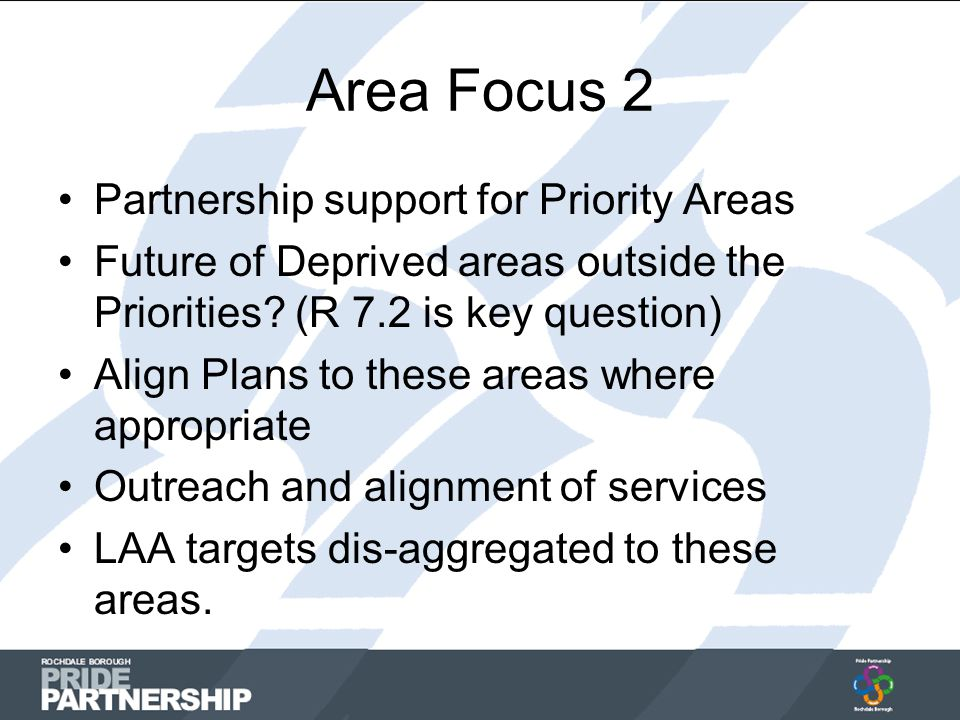 Area Focus 2 Partnership support for Priority Areas Future of Deprived areas outside the Priorities.