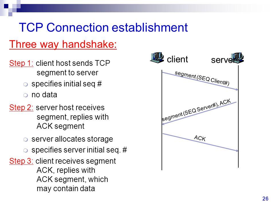 Three way handshake: Step 1: client host sends TCP segment to server m specifies initial seq # m no data Step 2: server host receives segment, replies with ACK segment m server allocates storage m specifies server initial seq.