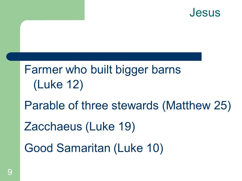 9 Jesus Farmer who built bigger barns (Luke 12) Parable of three stewards (Matthew 25) Zacchaeus (Luke 19) Good Samaritan (Luke 10)