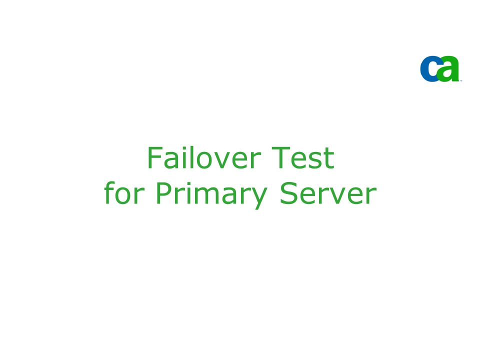 Failover Test for Primary Server