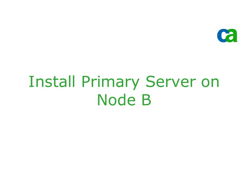 Install Primary Server on Node B
