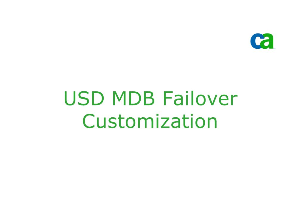 USD MDB Failover Customization