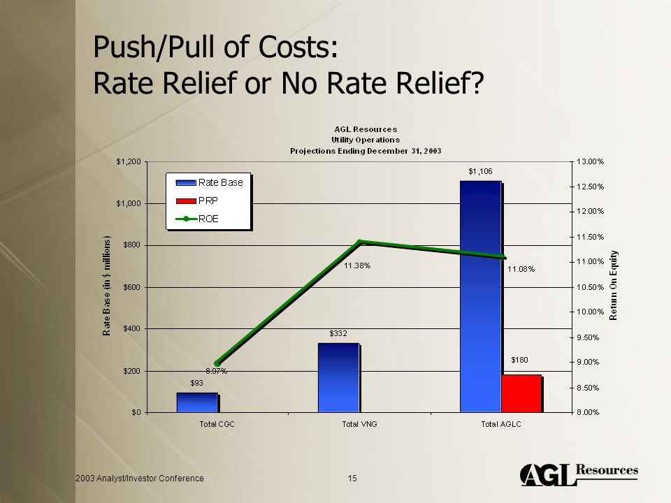 2003 Analyst/Investor Conference15 Push/Pull of Costs: Rate Relief or No Rate Relief?