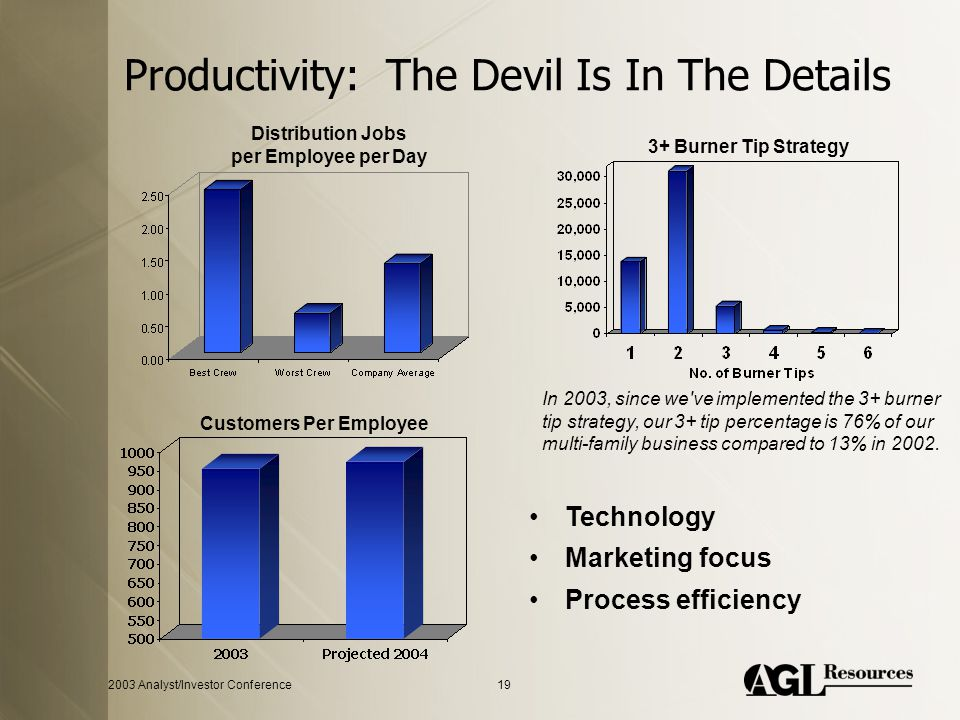 2003 Analyst/Investor Conference19 Productivity: The Devil Is In The Details In 2003, since we ve implemented the 3+ burner tip strategy, our 3+ tip percentage is 76% of our multi-family business compared to 13% in 2002.