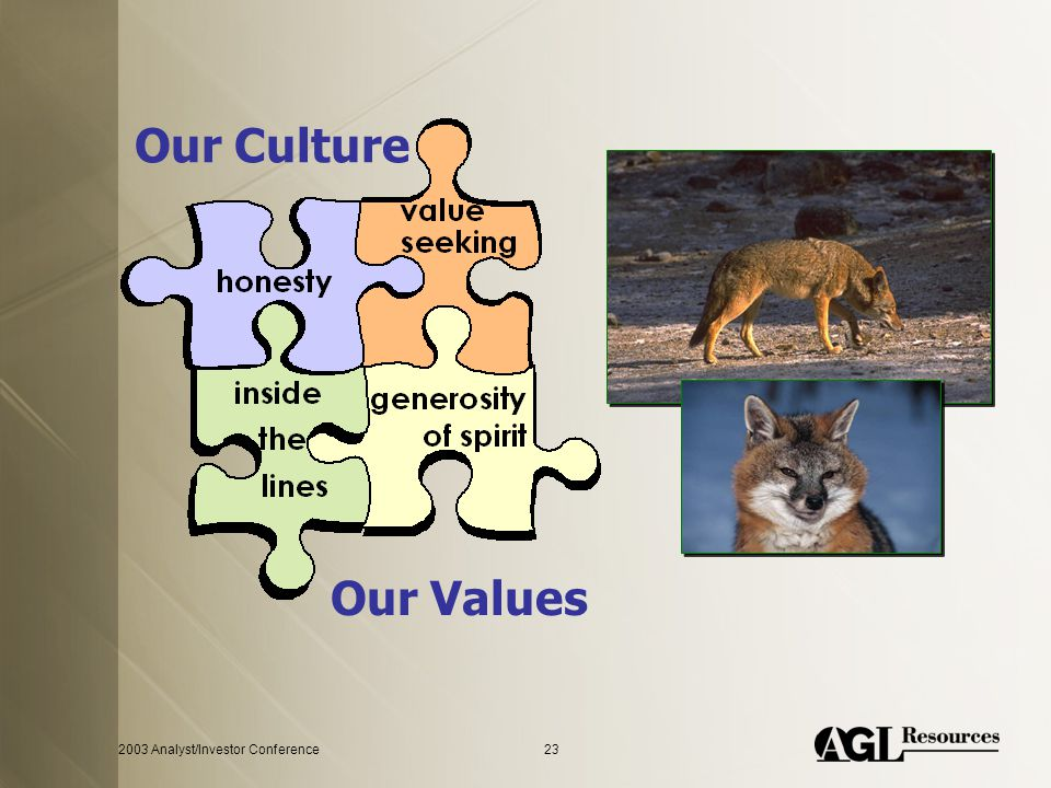 2003 Analyst/Investor Conference23 Our Culture Our Values