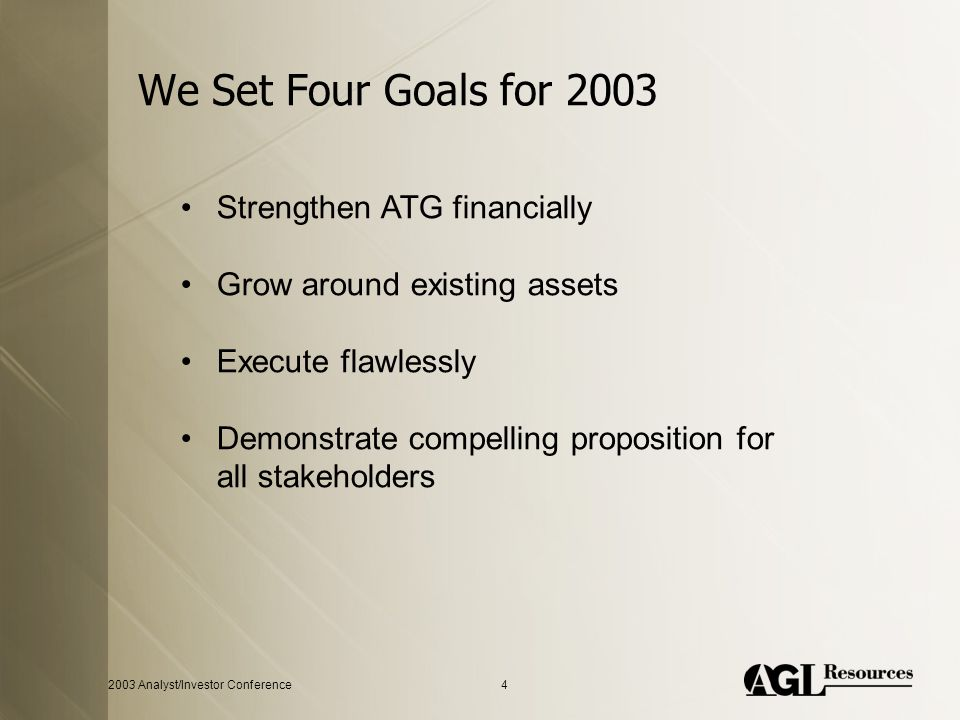 2003 Analyst/Investor Conference4 We Set Four Goals for 2003 Strengthen ATG financially Grow around existing assets Execute flawlessly Demonstrate compelling proposition for all stakeholders