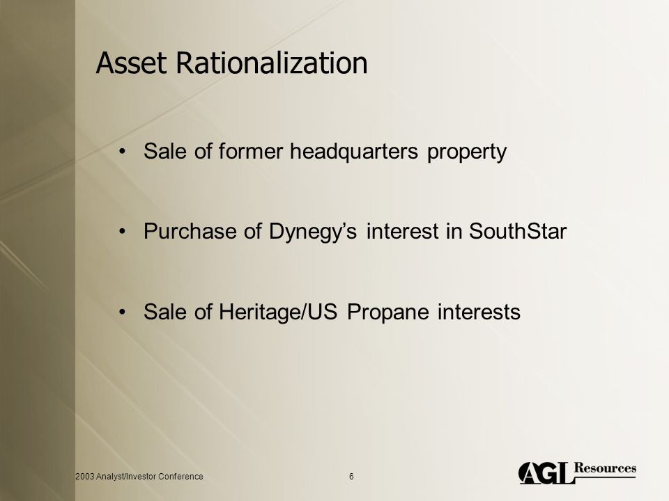 2003 Analyst/Investor Conference6 Asset Rationalization Sale of former headquarters property Purchase of Dynegy's interest in SouthStar Sale of Herita