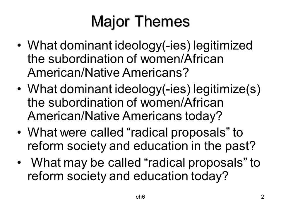 ch62 Major Themes What dominant ideology(-ies) legitimized the subordination of women/African American/Native Americans.
