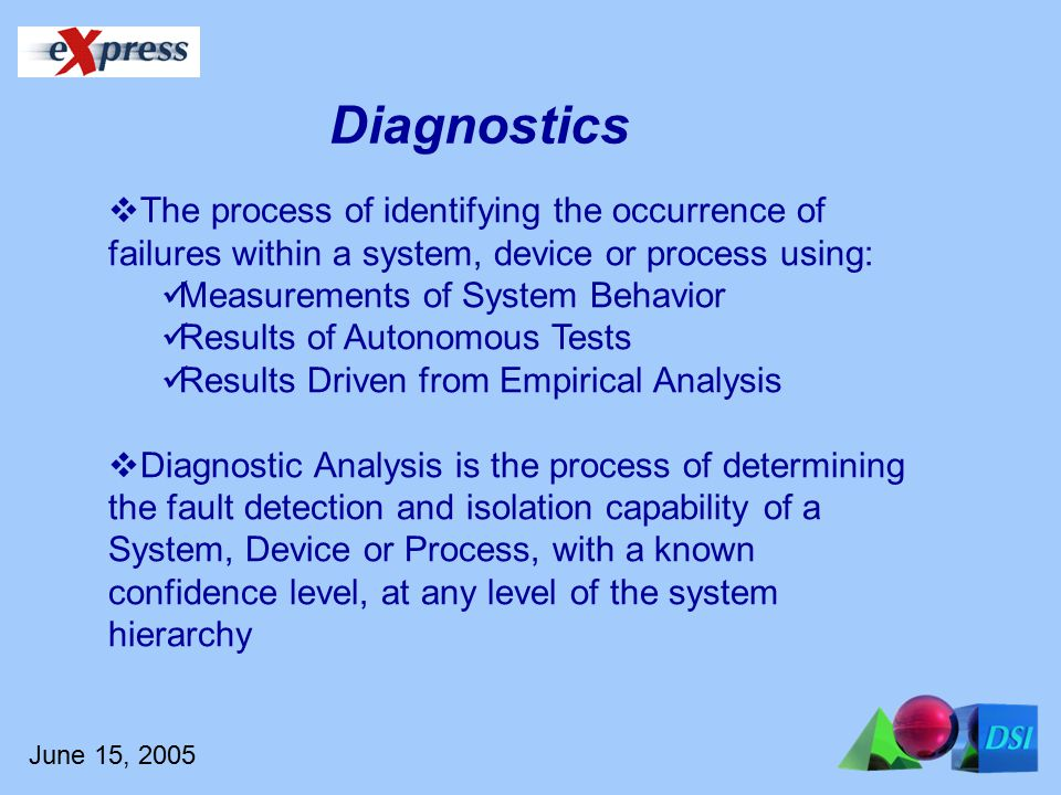 June 15, 2005  The process of identifying the occurrence of failures within a system, device or process using: Measurements of System Behavior Results of Autonomous Tests Results Driven from Empirical Analysis  Diagnostic Analysis is the process of determining the fault detection and isolation capability of a System, Device or Process, with a known confidence level, at any level of the system hierarchy Diagnostics
