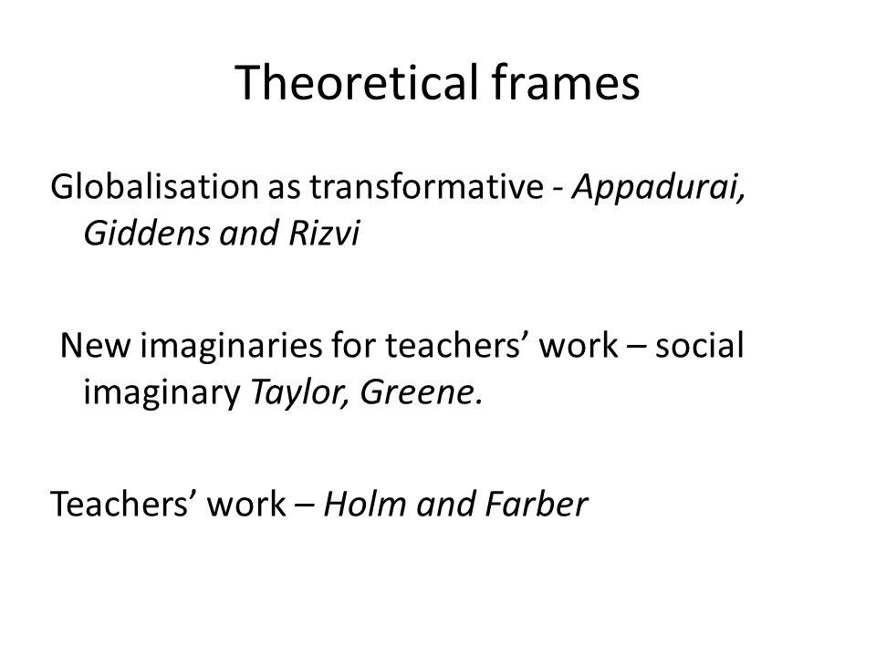 Theoretical frames Globalisation as transformative - Appadurai, Giddens and Rizvi New imaginaries for teachers' work – social imaginary Taylor, Greene.