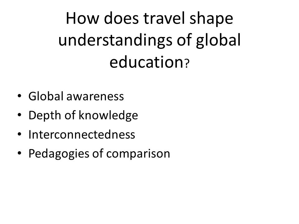Implications Global/ International Education Teachers' work can reconfigure global education as their mindsets and thinking in turn become actions.