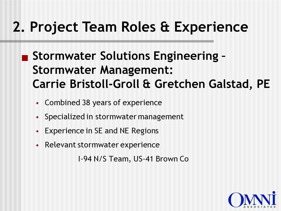  Stormwater Solutions Engineering – Stormwater Management: Carrie Bristoll-Groll & Gretchen Galstad, PE  Combined 38 years of experience  Specialized in stormwater management  Experience in SE and NE Regions  Relevant stormwater experience I-94 N/S Team, US-41 Brown Co 2.