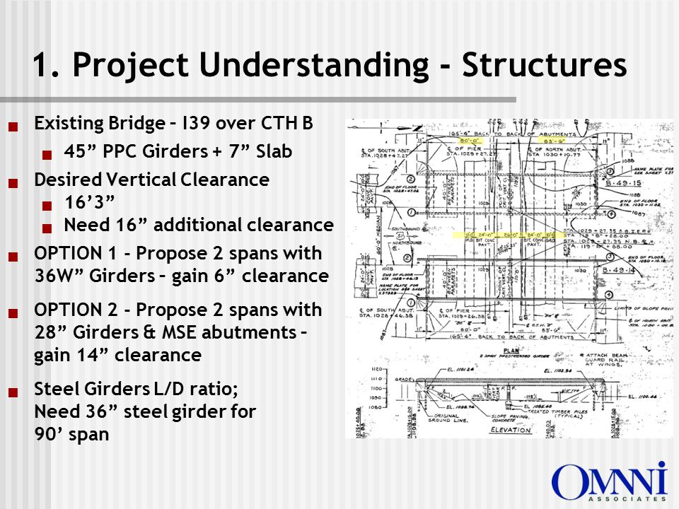 """1. Project Understanding - Structures  Existing Bridge – I39 over CTH B  45"""" PPC Girders + 7"""" Slab  Desired Vertical Clearance  16'3""""  Need 16"""" a"""