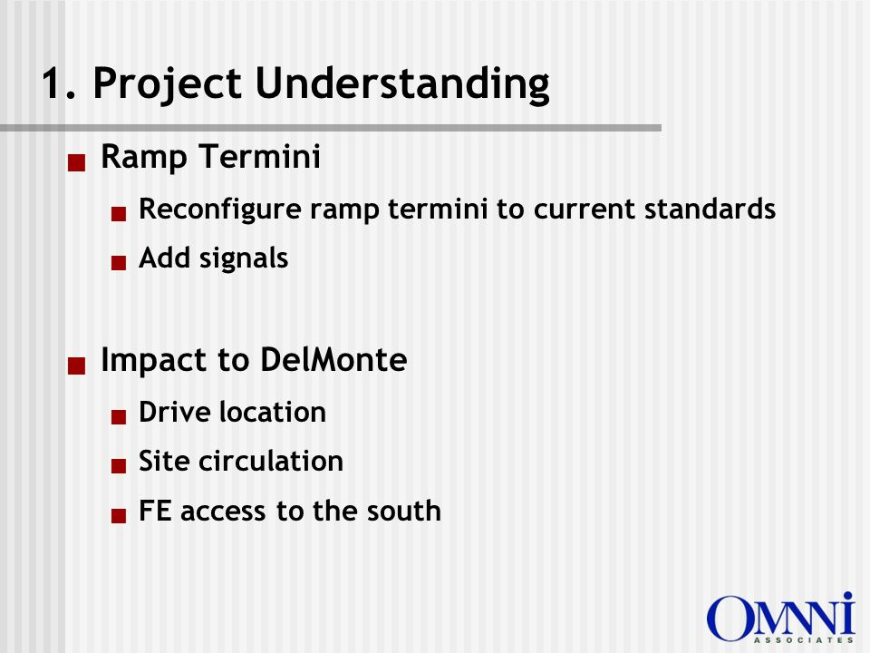  Ramp Termini  Reconfigure ramp termini to current standards  Add signals  Impact to DelMonte  Drive location  Site circulation  FE access to the south 1.