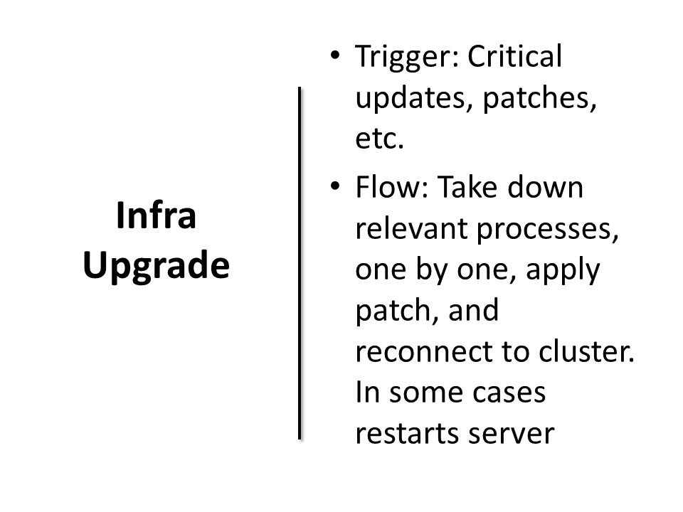 Infra Upgrade Trigger: Critical updates, patches, etc. Flow: Take down relevant processes, one by one, apply patch, and reconnect to cluster. In some