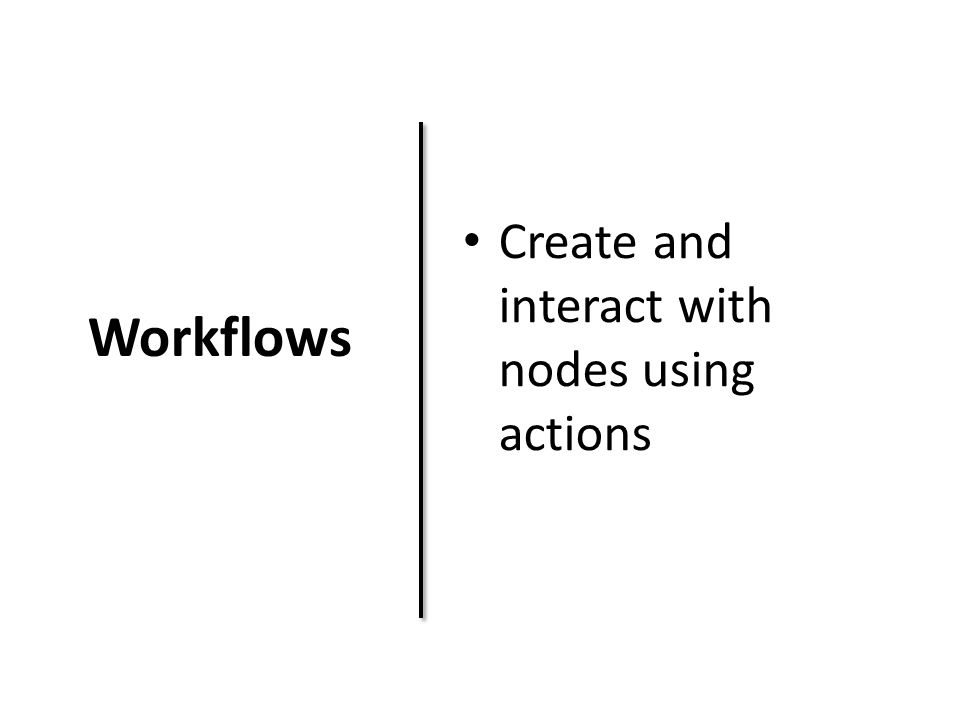 Workflows Create and interact with nodes using actions