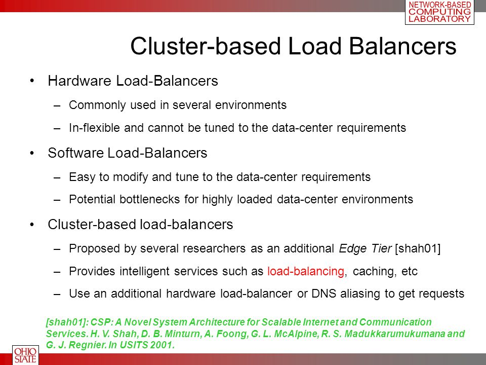 Cluster-based Load Balancers Hardware Load-Balancers –Commonly used in several environments –In-flexible and cannot be tuned to the data-center requir