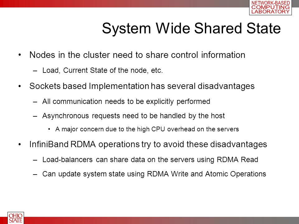 System Wide Shared State Nodes in the cluster need to share control information –Load, Current State of the node, etc.