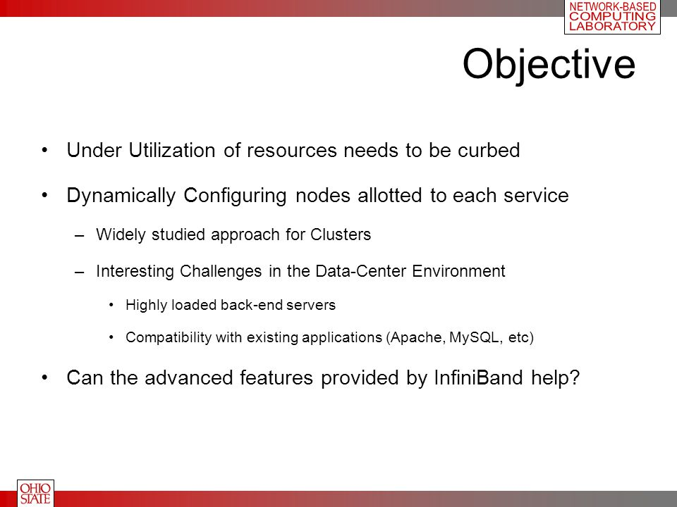 Objective Under Utilization of resources needs to be curbed Dynamically Configuring nodes allotted to each service –Widely studied approach for Cluste