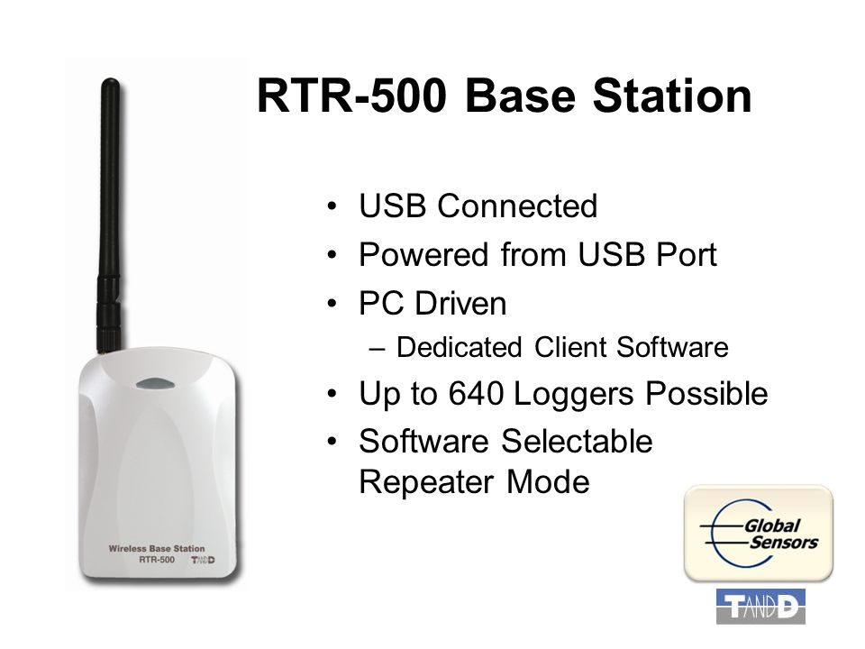 RTR-500 Base Station USB Connected Powered from USB Port PC Driven –Dedicated Client Software Up to 640 Loggers Possible Software Selectable Repeater Mode