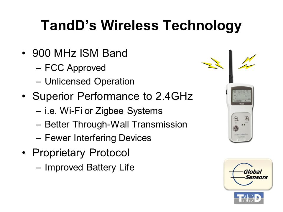 TandD's Wireless Technology 900 MHz ISM Band –FCC Approved –Unlicensed Operation Superior Performance to 2.4GHz –i.e.