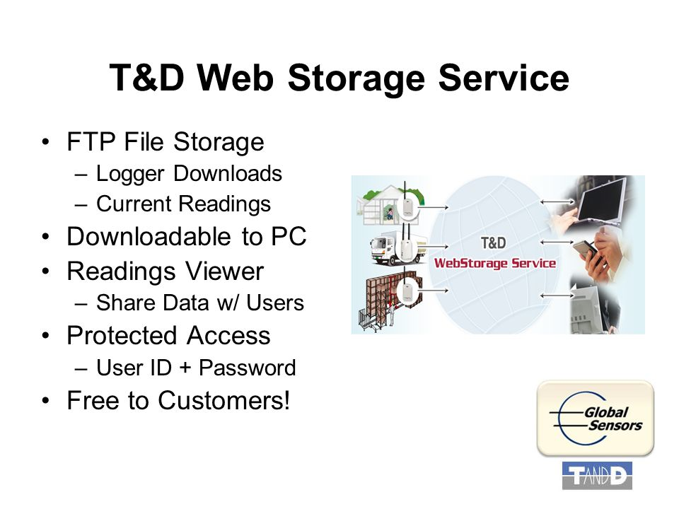 T&D Web Storage Service FTP File Storage –Logger Downloads –Current Readings Downloadable to PC Readings Viewer –Share Data w/ Users Protected Access –User ID + Password Free to Customers!