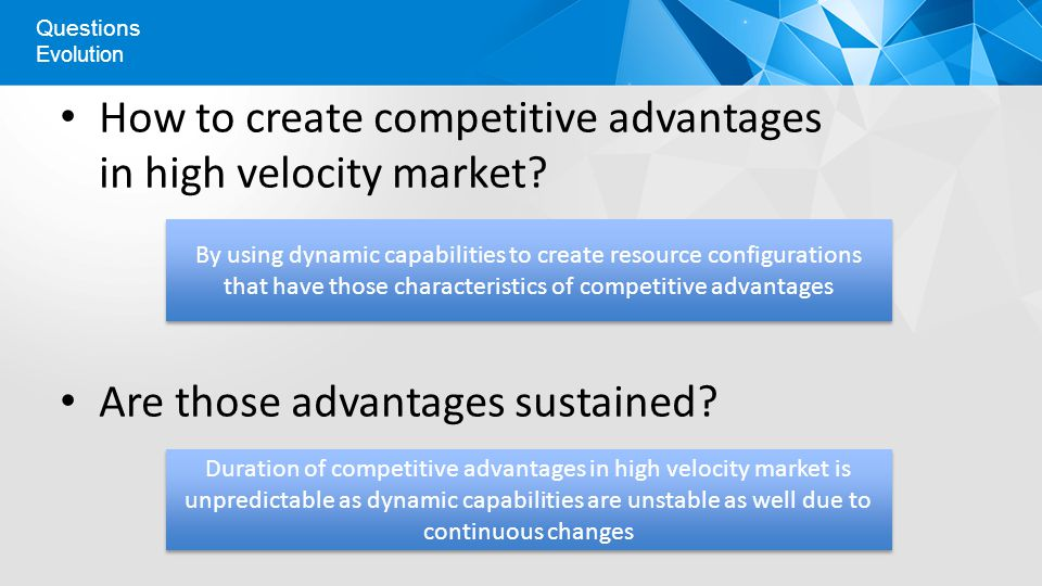 Evolution Questions How to create competitive advantages in high velocity market.