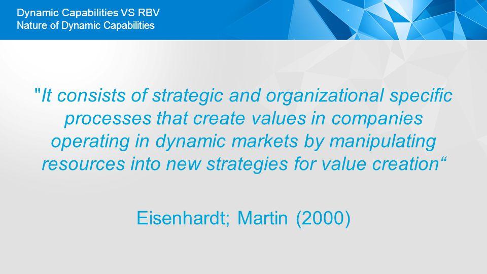 Nature of Dynamic Capabilities Dynamic Capabilities VS RBV