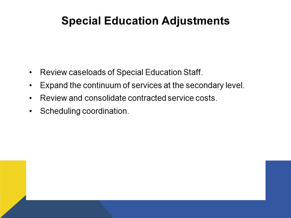 Special Education Adjustments Review caseloads of Special Education Staff.