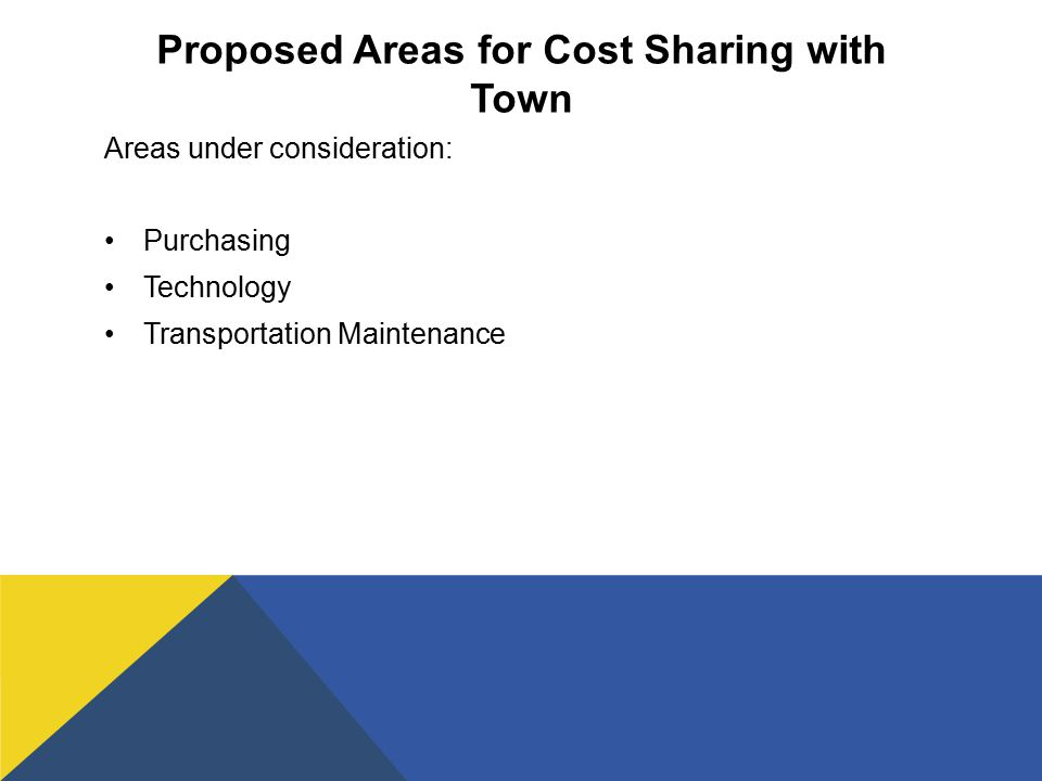 Proposed Areas for Cost Sharing with Town Areas under consideration: Purchasing Technology Transportation Maintenance