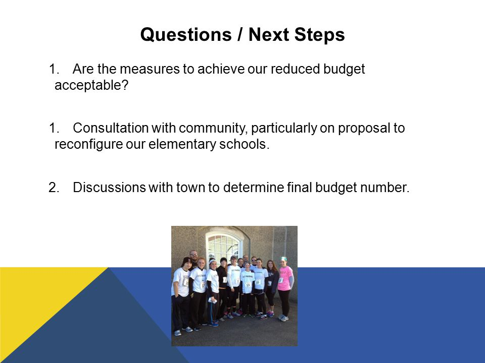 Questions / Next Steps 1.Are the measures to achieve our reduced budget acceptable.
