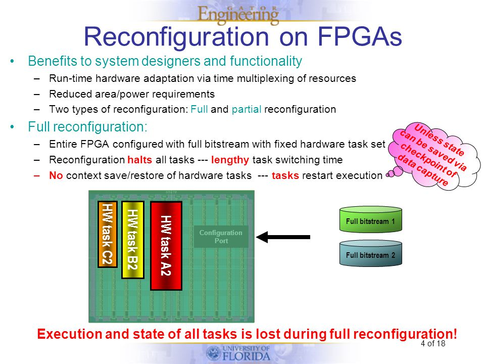 4 of 18 Reconfiguration on FPGAs Benefits to system designers and functionality –Run-time hardware adaptation via time multiplexing of resources –Reduced area/power requirements –Two types of reconfiguration: Full and partial reconfiguration Full reconfiguration: –Entire FPGA configured with full bitstream with fixed hardware task set –Reconfiguration halts all tasks --- lengthy task switching time –No context save/restore of hardware tasks --- tasks restart execution Execution and state of all tasks is lost during full reconfiguration.