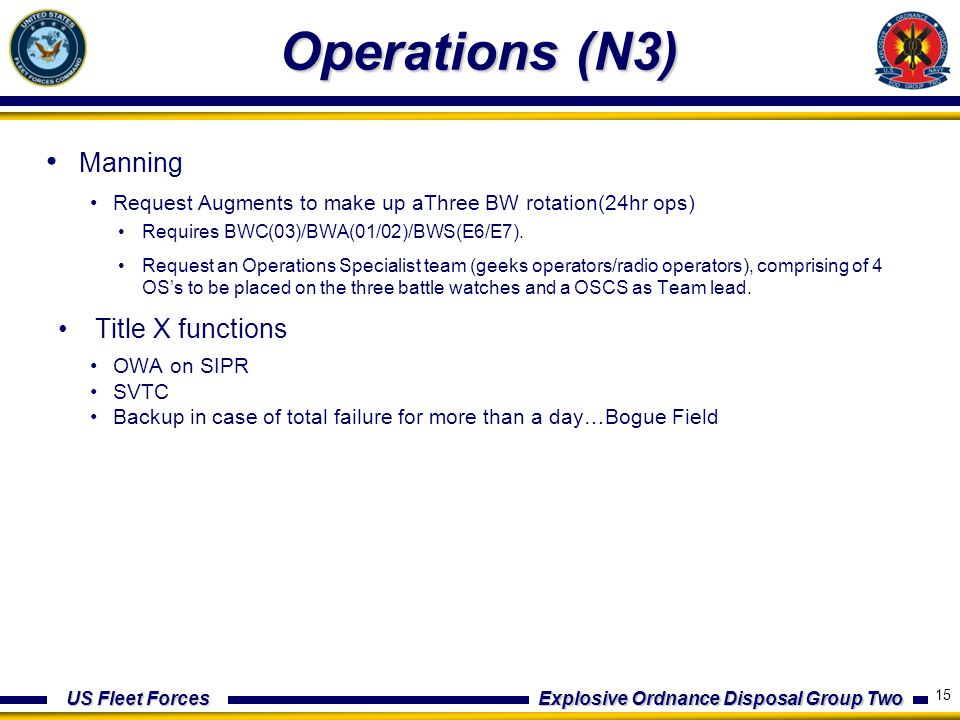 US Fleet Forces Explosive Ordnance Disposal Group Two Operations (N3) Manning Request Augments to make up aThree BW rotation(24hr ops) Requires BWC(03)/BWA(01/02)/BWS(E6/E7).