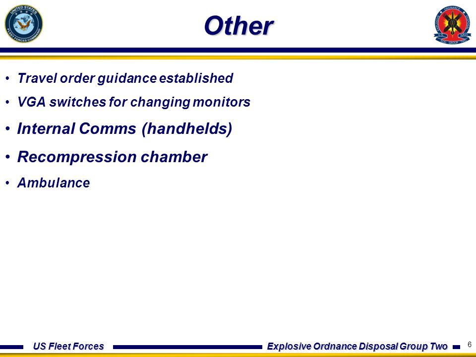 US Fleet Forces Explosive Ordnance Disposal Group Two Agenda Administration (N1) Intelligence (N2) Operations (N3) Battle Watch (BWO) Logistics (N4) Communications (N6) Training (N7) Medical (N9) 7