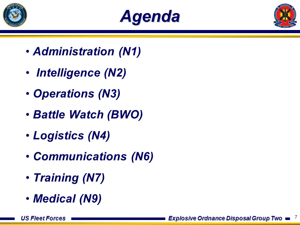 US Fleet Forces Explosive Ordnance Disposal Group Two Agenda Administration (N1) Intelligence (N2) Operations (N3) Battle Watch (BWO) Logistics (N4) Communications (N6) Training (N7) Medical (N9) 7