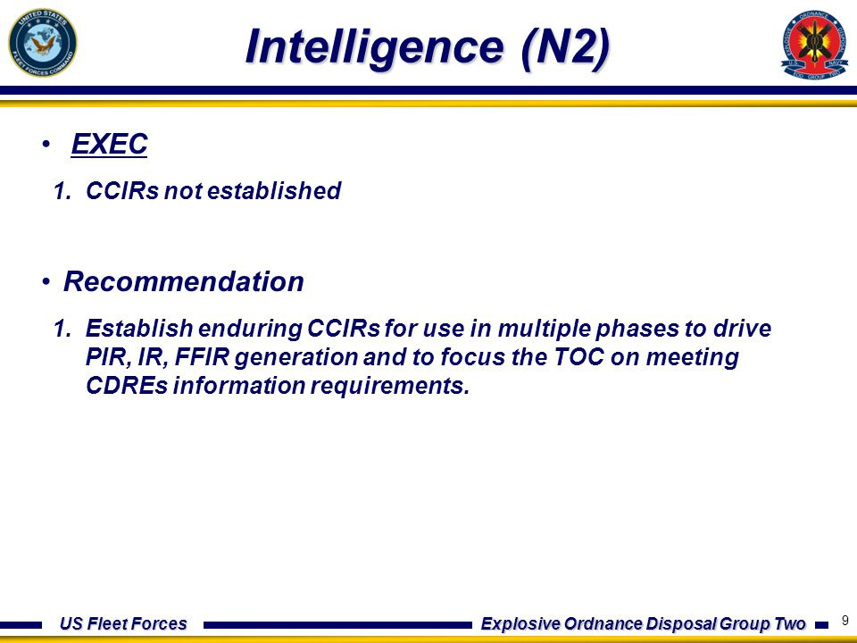 US Fleet Forces Explosive Ordnance Disposal Group Two Intelligence (N2) EXEC 1.CCIRs not established Recommendation 1.Establish enduring CCIRs for use in multiple phases to drive PIR, IR, FFIR generation and to focus the TOC on meeting CDREs information requirements.